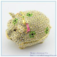 Quality Crystal Swine Pig Jewelry Holder Kitchen Decor online Pig Crystals Jewelry Trinket Box for sale