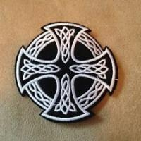 Wholesale Celtic Iron Cross Irish Biker Black White Iron on Patch Motorcycle from china suppliers