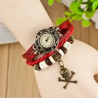 Wholesale Skull Pendants Vintage Leather Quartz Watch Antique Water-resistance from china suppliers
