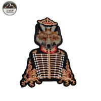 China Military Uniform Fox 3D Embroidery Patches One Side Design Any Color Available on sale