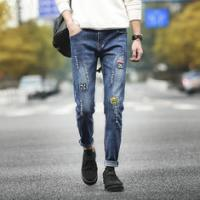 Wholesale Urban Style Wax Coated Mens Black Tapered Jeans , Printed Skinny Denim Biker Jeans from china suppliers