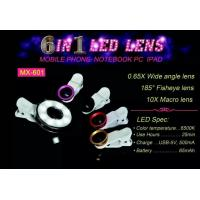 Wholesale 6 in 1 LED Night Using Selfie Sync Effect Micro Fisheye Wide Lens for Camera, Phone FS-01 from china suppliers