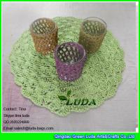 Wholesale LDTM-040 green paper straw placemat round floral decorative table placemat from china suppliers
