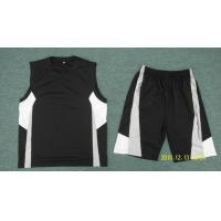 Buy cheap V-neck Mens Athletic Clothes , Black with White Color from wholesalers
