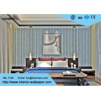 Wholesale Black And Grey Striped Wallpaper / Contemporary Vertical Striped Wallpaper from china suppliers