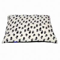 Wholesale Dog Bed/Cushion Fleece Fabric White with Black Paw Print from china suppliers