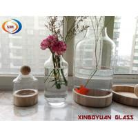 Buy cheap Clear 2018 hot sale garden glass flower vases glass terrarium with wood base from wholesalers