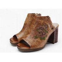 Wholesale Brown Open Toe Clogs Mules , Leather High Heel Clogs With Embroidery Pattern from china suppliers