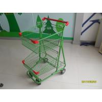 Wholesale Two Basket Grocery Shopping Trolley Wire Shopping Cart 656x521x1012mm from china suppliers