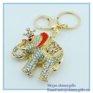 Wholesale Handmade enamel elephant shape metal key chain with rhinestone from china suppliers