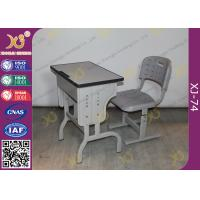 China Pre - Assembled Metal Kids School Desk And Chair Set With Electrostatic Powder Coating on sale