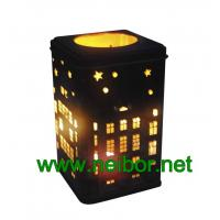 Wholesale Square shape cookie tin box with hollow cut and secondary use as metal candle holder from china suppliers
