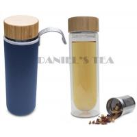 Quality 450ml DW Glass Tea Tumbler with Bamboo Lid and Protective Case and 2 Piece Strainer for Te for sale