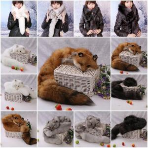 Wholesale Fox Fur Scarves Fur Scarf Fox Fur Wraps Fur Shawl Fur Cape Fur Poncho 4 Colors from china suppliers