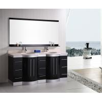 Artificial Stone Eased Edges Double Vanity Countertops And Sinks Black Color