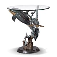 Wholesale round dolphins stand coffee table from china suppliers