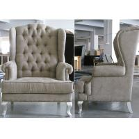 Wholesale Comfortable Button - Tufted Wooden Lounge Chair , Fabric Wingback Chair from china suppliers