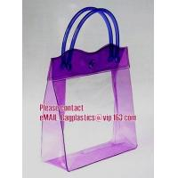 Wholesale clear pvc packaging bag with handle for wine, vinyl pvc zipper gift tote bags with handles, gift bag with plastic snap from china suppliers