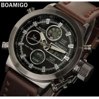Wholesale Boamigo Men Dual Time Display Leather Band Creative Crown Scratch Proof Minerel Glass Chronograph Sport Watch F903 from china suppliers