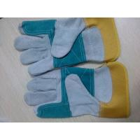 "Quality 10.5"" Reinforced Double Palm cow Leather Safety protective Gloves for sale"