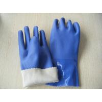 Wholesale Blue PVC gloves,Full pvc dipped gloves,sandy finish,Interlock lining,size 14'' from china suppliers