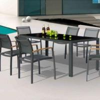 Wholesale Outdoor garden table set with aluminum, glass top, textilene sling, 6 chairs/patio hotel from china suppliers