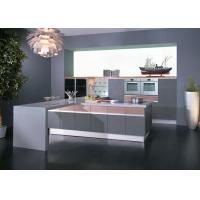 Wholesale Grey / Pink High Gloss Lacquer Kitchen Cabinets With White Quartz Stone from china suppliers