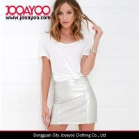 Wholesale Latest Fashion Skirt Design Silver Faux Leather Mini Skirt with High-waist from china suppliers