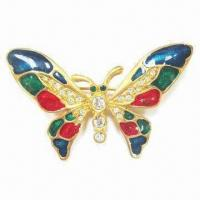 Wholesale Butterfly Metal Brooch, Durable, Eco-friendly, OEM Orders Accepted from china suppliers