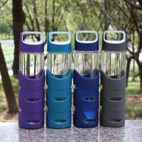 Wholesale Borosilicate 550ml Modern Reusable Glass Water Bottles With Rubber Cover from china suppliers