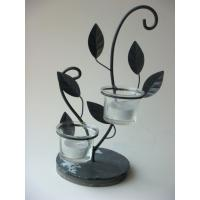 Wholesale Handmade Iron Antique Tea Light Candle Holders With Slate Base from china suppliers