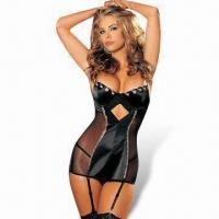 Wholesale Sexy Lingerie Bodysuit, Includes Dress with Garter and G-string from china suppliers