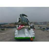 Wholesale 10M*6M*6M EN14960 0.55MM PVC Tarpaulin inflatable giant Crocodile Theme dry slide for Frame pool from china suppliers