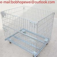 Wholesale storage cage wire mesh container/Storage Containers Collapsible Eur Container with Wheels/industrial stackable storage from china suppliers