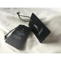 Wholesale Both Side Silver Logo Art Paper Clothing Hang Tags With Black Waxed Cord from china suppliers