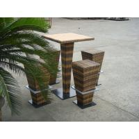 Wholesale Brown PE Rattan Bar Set , Home Balcony / Garden Table And Chairs from china suppliers