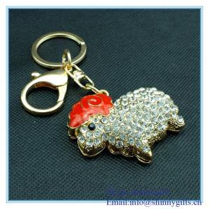 Wholesale Rhinestone sheep shape metal key chain from china suppliers