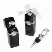 Wholesale Diamond Ring-shaped Stainless Steel Wine Bottle Stopper in Gift Box, Wedding Gift from china suppliers