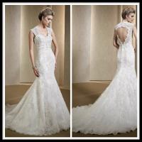 Wholesale Vintage Romantic Lace Wedding Gowns , Mermaid Dresses Open Back Bridal Gowns from china suppliers