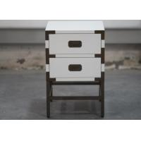 Wholesale Elegantly Wooden Hotel Bedside Tales With 2 Drawers , Metal Frame from china suppliers