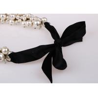 Quality Fashion Costume Jewelry Cluster Pearl Pendant Necklace With Black Ribbon for sale