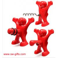 Wholesale New Kitchen Bar Red Fun Happy Man Wine Beer Soda Bottle Novelty Opener Stopper from china suppliers