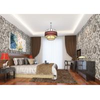 Wholesale Grey Vinyl Embossed Victorian Damask Wallpaper Removable , Tear - resistant from china suppliers