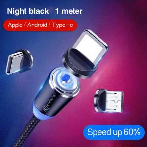 Wholesale 1M Cell Phone 3 In 1 Magnetic Braided Charging Micro Magnetic Usb Cable High Quality 3 in1 Fast Charger Cable Line from china suppliers