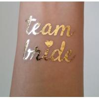 Quality Team Bride Temporary Wedding Metallic Tattoo Stickers Waterproof Removable for sale