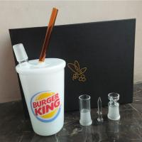 Wholesale 18mm Joint Big Size Jade White BURGER KING Borosilicate Glass Oil Rig Dab Rig Water Pipe Bong from china suppliers