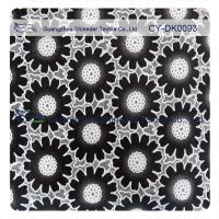 Fashion Big Black Floral Cotton Lace Fabric , 50% Cotton 50% Polyester
