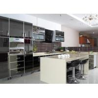 Wholesale Black Mirror Door Panel Stainless Steel Kitchen Cabinet With Beige Island And Drawers from china suppliers