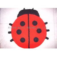Wholesale Ladybugs Shape Crochet Doily Rug Wrinkle - Resistant Red Hand Knit Rug from china suppliers
