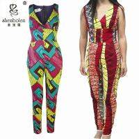 Wholesale Kitenge African Print Jumpsuit Designs , Plus Size African Traditional Jumpsuits from china suppliers